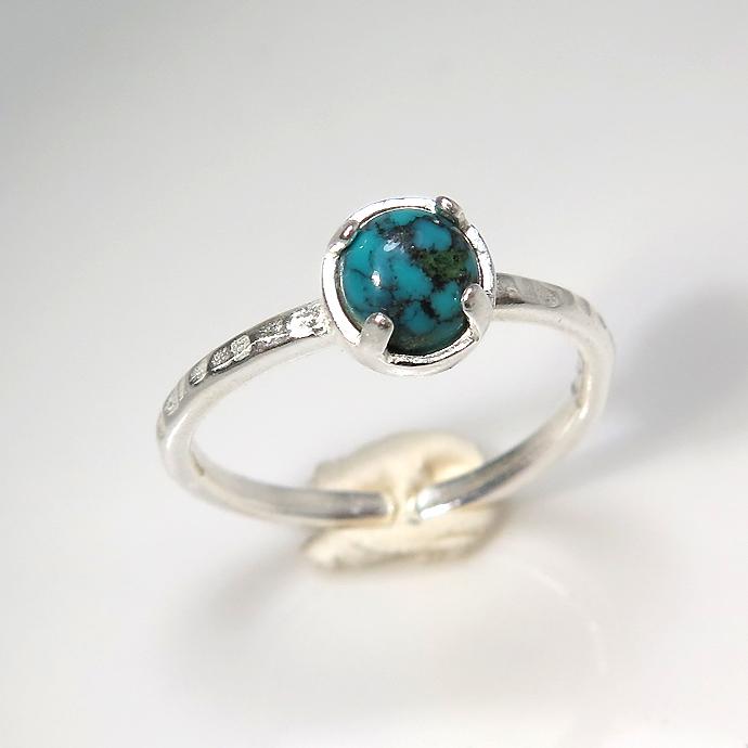 天然石リング 指輪 ターコイズ(チベット) ハンマードリング(4本爪 カボション ラウンド 5mm)(真鍮ブラス・シルバーカラー)