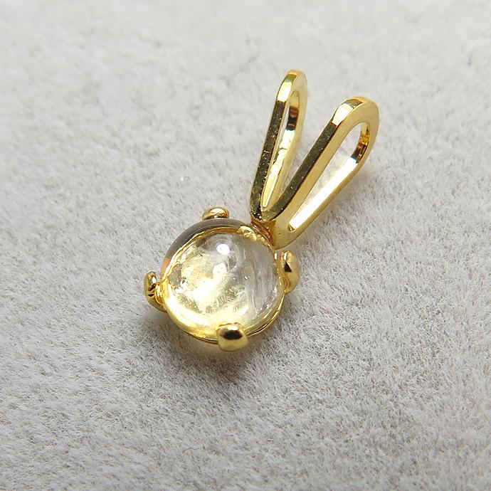 カボションペンダント(天然石シトリン<11月誕生石>4mm)「14kgf」(ゴールドフィルド)(1個)