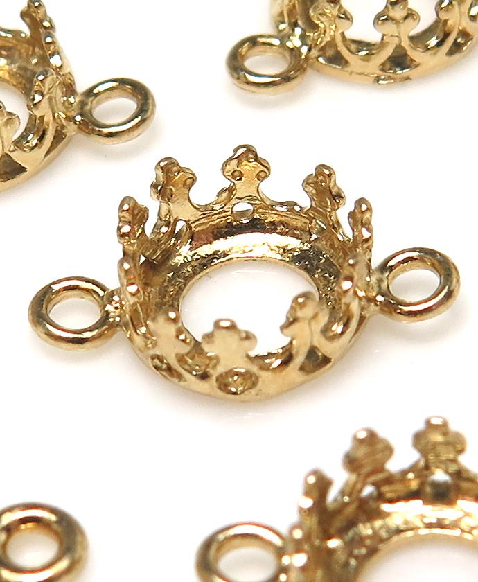 コネクター 空枠 チャームクラウン ラウンド(ベゼルセッティング/カボション用)(6mm)(真鍮ブラス・ゴールドカラー)8個