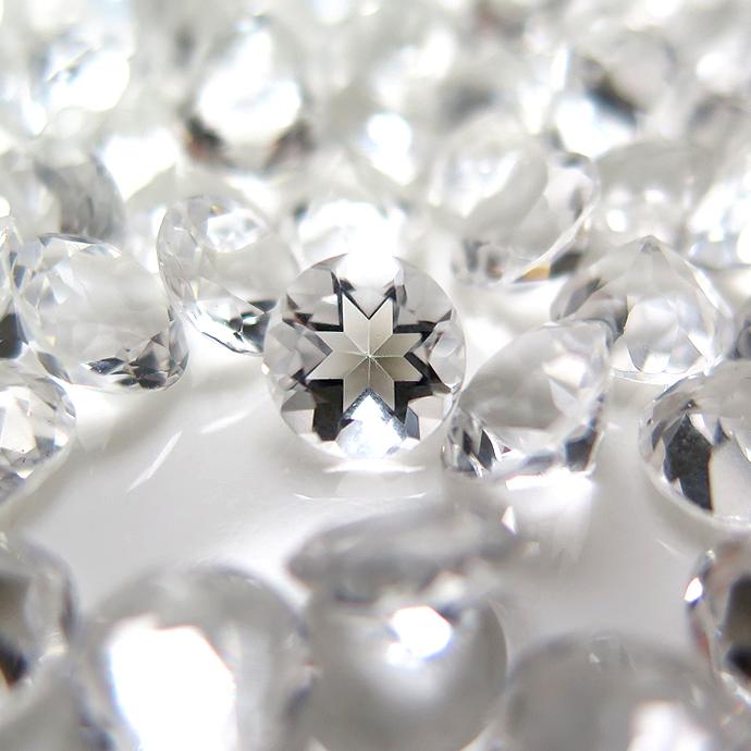 天然石ルース(裸石)・クリスタル/水晶(ブラジル)/ラウンド【7mm】ファセットカット(10個)
