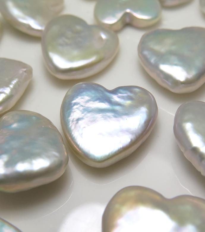 ハート パール 真珠  淡水 バロック ルース 穴無 15mm 1個