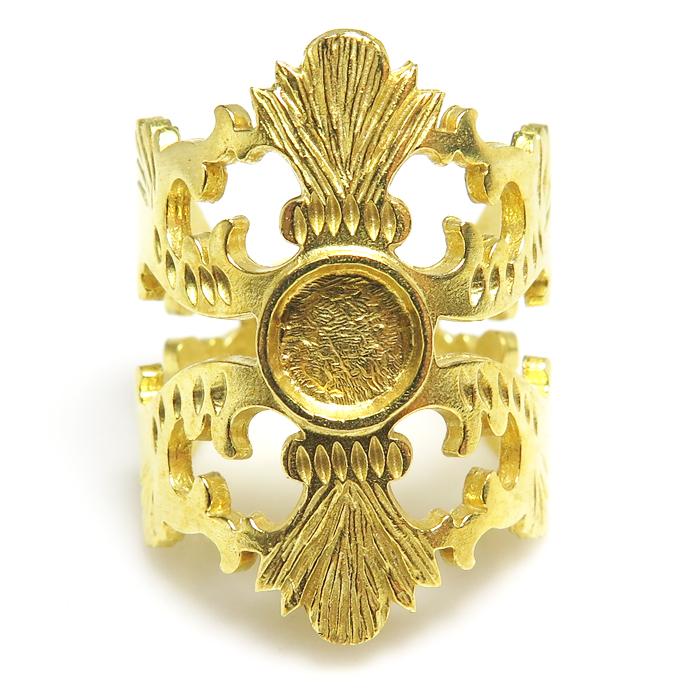 ブラスリング 指輪 デザイン 27mm 空枠 石枠 ラウンド6mm (真鍮ブラス・ゴールドカラー)1個