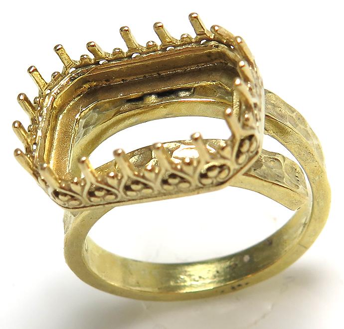 指輪 空枠 リング ハンマード オクタゴン ゴールド ブラス 空枠 14×10mm(真鍮ゴールドカラー) 1個