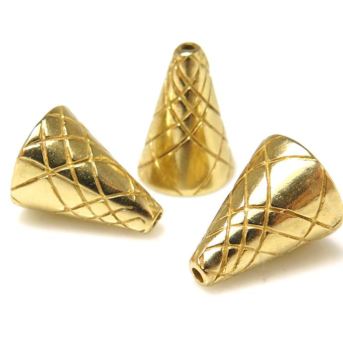 ブラス コーン パーツ アクセサリー(11.8mm×9.2mm)真鍮・ゴールドカラー(5個)
