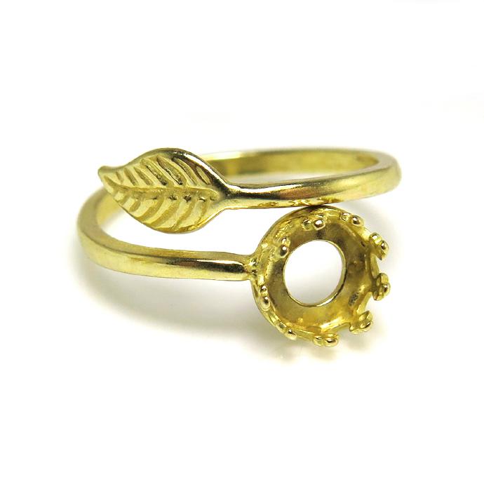 指輪リング空枠・リーフ(カボション用)(ベゼル・ラウンド・6mm)(真鍮ブラス・ゴールドカラー)(3個)