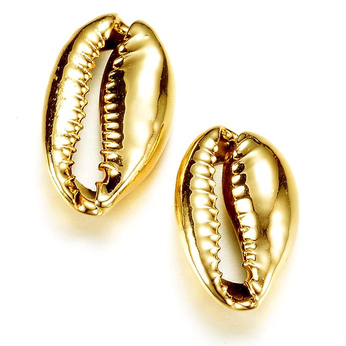 カウリシェル ゴールド メッキ 金色 貝殻 巻貝 【穴無し】アクセサリー(12~20mm) 10個