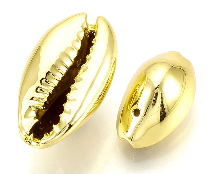 カウリシェル ゴールド メッキ 金色 貝殻 巻貝ビーズ アクセサリー(12〜20mm) 15個