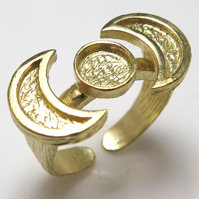 惑星 月×2 指輪 リング 三日月 プラネット ムーン 6mm空枠(カボション用)真鍮ブラス・ゴールドカラー(1個)