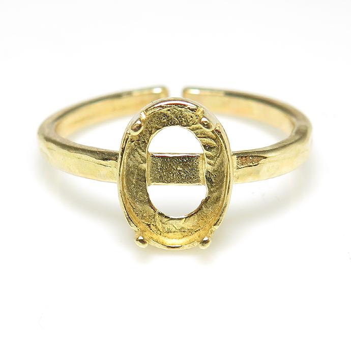 ゴールド ブラスリング 真鍮 指輪 4本爪 空枠 カボション オーバル 8×6mm ゴールドカラー(2個)