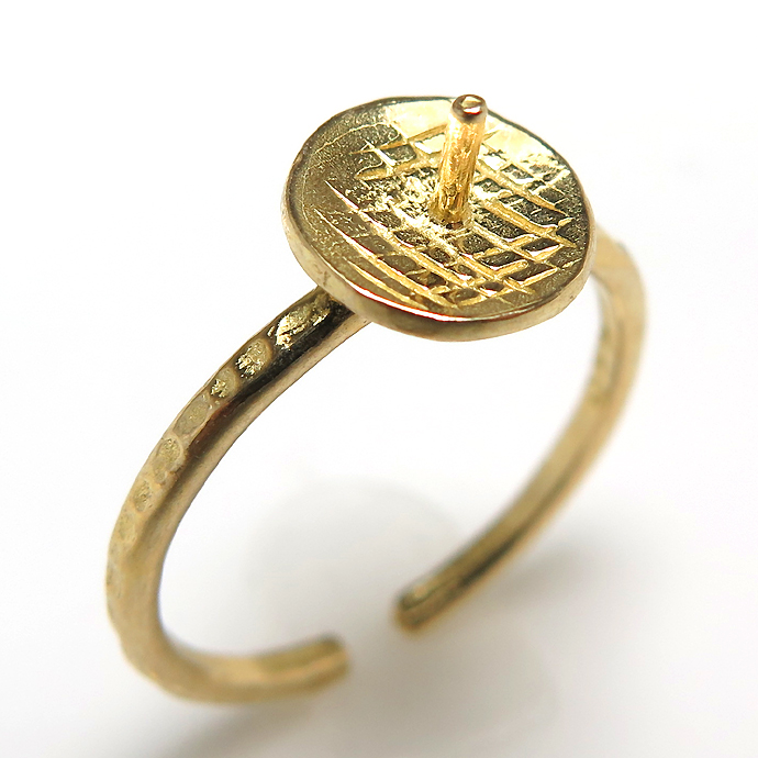 指輪リング台/ハンマード 突き刺し パールカップ(丸皿8mm)(真鍮ブラス・ゴールドカラー)(2個)