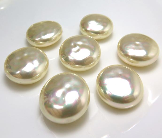 純国産ガラスパール 片穴  ボタン カボション バロックパール ミガキ 18mm ビンテージパールカラー[A](1個)