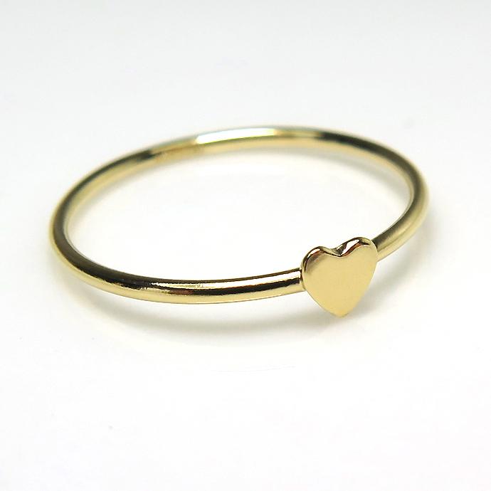 モチーフリング 14kgf指輪 3.5mm ハート(サイズ目安:9号)ゴールドフィルド(10個)
