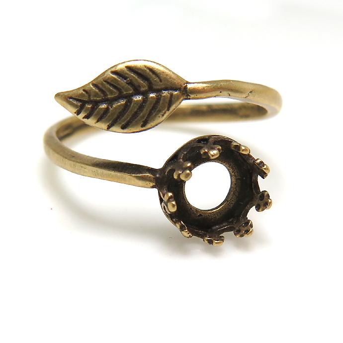 金古美 アンティークゴールド 指輪リング空枠・リーフ(カボション用)(ベゼル・ラウンド・6mm)真鍮ブラス(3個)