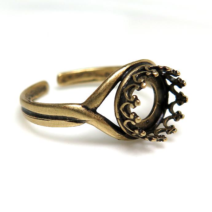 指輪リング空枠クラウン(ベゼルセッティング/カボション用)(ラウンド8mm)(金古美・真鍮ブラス・アンティークゴールド)(2個)