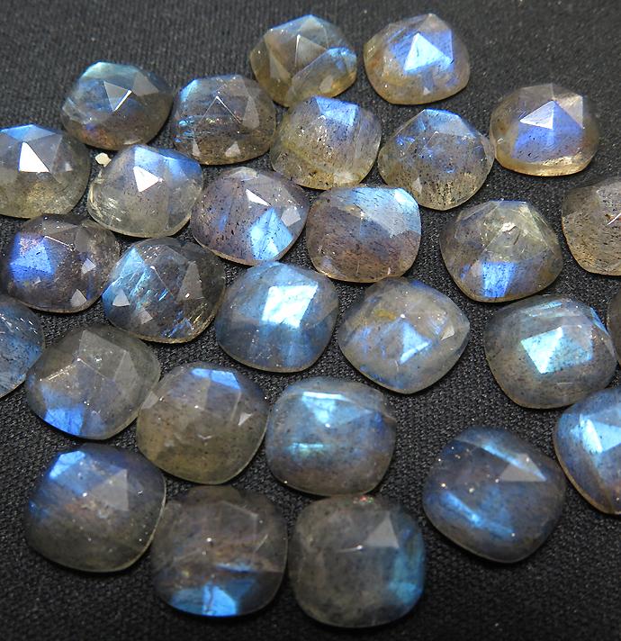 天然石ルース(裸石)ラブラドライト/スクエア クッション(10mm)カボション ローズカット(1個)