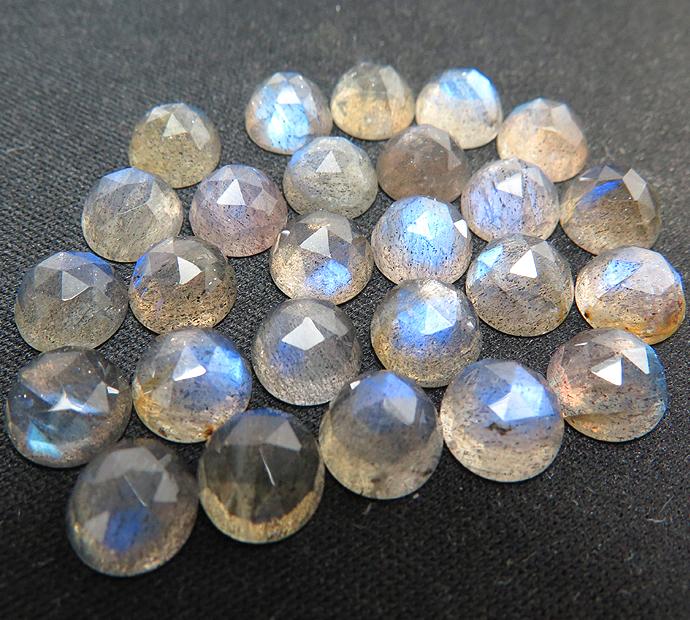 天然石ルース(裸石)ラブラドライト/ラウンド(5mm)カボション ローズカット(7個)
