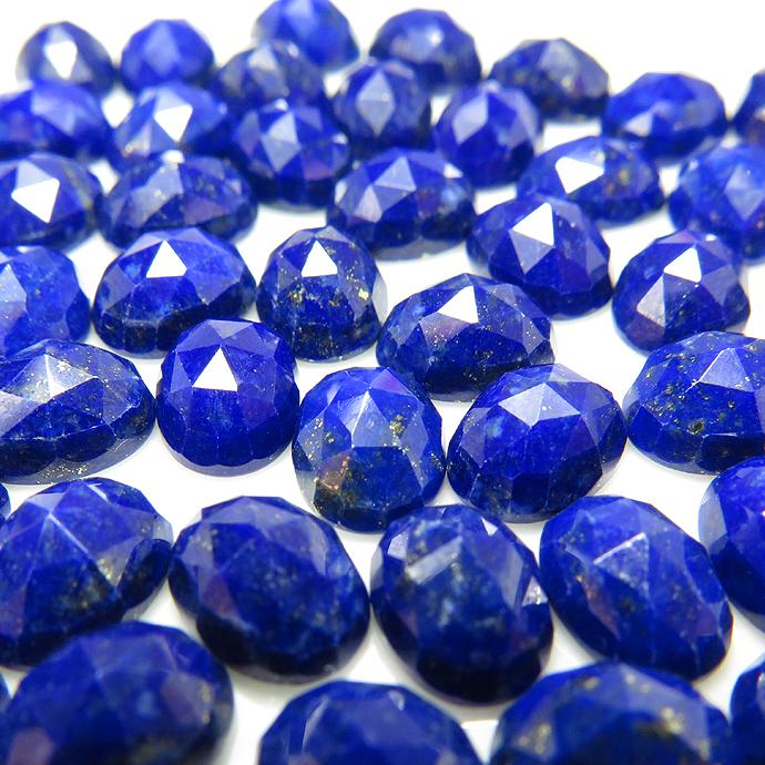 天然石ルース(裸石)ラピスラズリ/カボション・ローズカット(オーバル)【8×6mm】(3個)