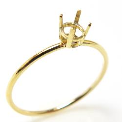 14kgfリング 空枠 指輪 4本爪 4mmラウンド(サイズ目安:11号)ゴールドフィルド)(1個)