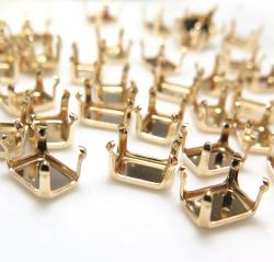 14kgf 空枠 石枠パーツ エメラルド オクタゴン 7×5mm(4本爪)ゴールドフィルド(1個)