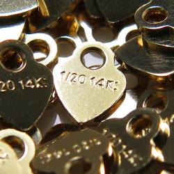 14kgfタグ/板カン(ハート 刻印)(3.5mm)ゴールドフィルド(15個)