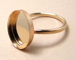 14kgfリング・指輪パーツ(カボション・ミール皿オーバル8×6mm)(サイズ目安13号)「ゴールドフィルド」(1個)