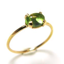 14kgf天然石リング(指輪)ペリドット<8月誕生石> 6×4mm(4本爪カボション/オーバル)ゴールドフィルド(1個)