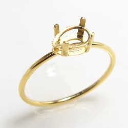 14kgfリング 空枠 指輪 パーツ ペア 横 6×4mm 4本爪 ゴールドフィルド(サイズ目安:11号) 1個