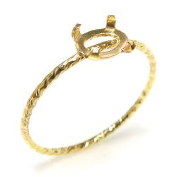 14kgfリング 指輪 空枠 テクスチャー・グリッター カボション 横6×4mm オーバル 4本爪 ゴールドフィルド (サイズ目安:11号) 1個