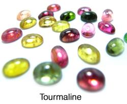 天然石ルース(裸石)・トルマリン(マルチカラー)/カボション(オーバル)【6×4mm】(10個)