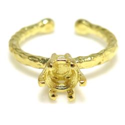 ブラス リング ハンマード 指輪 ラウンド 6本爪 6mm(5.5~6.5mm)空枠 真鍮ブラス・ゴールドカラー(2個)