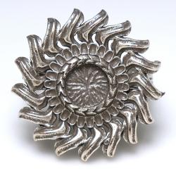 ひまわり サンフラワー リング 指輪 花 6mm空枠(カボション用)真鍮ブラス・アンティークシルバーカラー(1個)