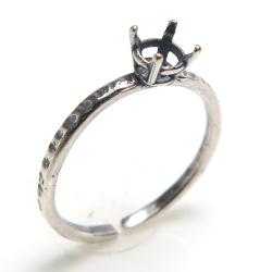 銀古美 指輪 空枠 リング ラウンド 石枠 4本爪 ハンマード 4mm (真鍮ブラス・アンティークシルバーカラー)2個