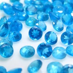 ネオン ブルーアパタイト(非加熱・ブラジル) 天然石ルース ラウンド【3.3~3.6mm】ファセットカット(3個)