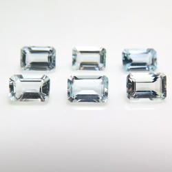 アクアマリン レクタングル オクタゴンカット 天然石ルース 【6×4mm】ファセットカット(1個)