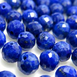 天然石ルース(裸石)ラピスラズリ/ラウンドボール片穴【4mm】チェッカーカット(5個)