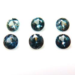 天然石ルース(裸石)・ブルーグリーンサファイア(非加熱)スリランカ・セイロン/ラウンド【3mm】ダイヤモンドカット(1個)