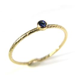 ブルーサファイア指輪 14kgf天然石リング ベゼル テクスチャー ラウンド 2mm ゴールドフィルド(1個)