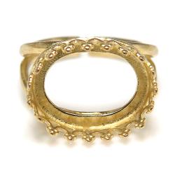 指輪空枠 リングクラウン(ベゼルセッティング/カボション用)(横オーバル14×10mm)(真鍮ブラス・ゴールドカラー)(1個)