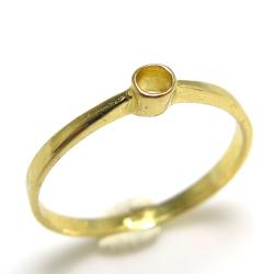 指輪リング空枠 ラウンド ベゼル 2mm (真鍮ブラス・ゴールドカラー)(3個)