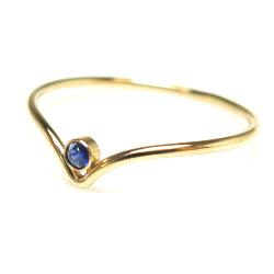 天然石 シェブロンリング 指輪 14kgf ベゼル ラウンド ブルーサファイア 2mm ゴールドフィルド(1個)