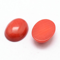 コーラル ルース (珊瑚・サンゴ)(染・レッド)カボション オーバル 10mm×8mm(4個)