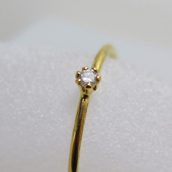 14kgfリング(指輪)天然石ホワイトダイヤモンド【I2】(アフリカ産)(無処理)2mm(ラウンド)(サイズ目安:7号)「ゴールドフィルド」(10個)