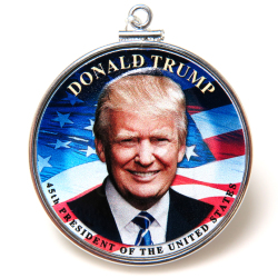 ドナルド・トランプ大統領 DONALD TRUMP コインペンダント・アメリカ 1ドル ダラー バチカン付「シルバーSV925」(1個)