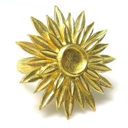 サンフラワー リング 指輪 ひまわり 花 6mm空枠(カボション用)真鍮ブラス・ゴールドカラー(1個)
