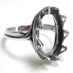 銀古美 指輪リング空枠クラウン(ベゼルセッティング/カボション用)(オーバル 18×13mm)(真鍮ブラス・アンティークシルバー)(10個)