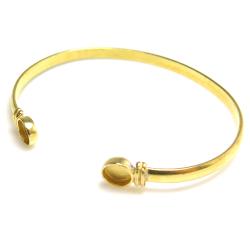 バングル カボション 空枠付 ラウンド 6mm 真鍮ブラス・ゴールドカラー(1個)