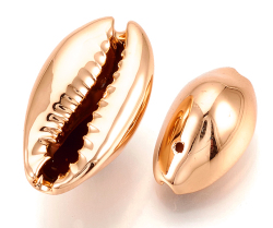 カウリシェル ローズゴールド メッキ ピンクゴールド 貝殻 巻貝ビーズ アクセサリー(12〜20mm) 15個