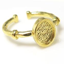 ブラス リング 真鍮 指輪空枠 ハンマード カボション オーバル 8×6mm(ゴールドカラー)(2個)