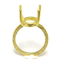 指輪 空枠 リング (ラフストーン・タンブル~カボション 9×10mm) サイズ目安11号 真鍮ブラス・ゴールドカラー(3個)