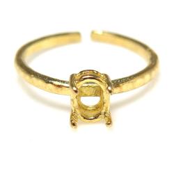 指輪 空枠 リング 石枠 ハンマード オーバル 縦 6×4mm 4本爪(真鍮ブラス・ゴールドカラー)4個